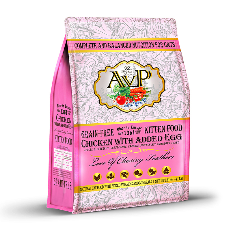 Avp cat food made with fresh meat grain free natural recipe for avp1361 chicken with added egg complete grain free natural recipe for kittens forumfinder Gallery